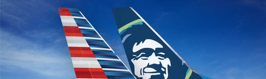 American Airlines and Alaska Airlines aircraft tails